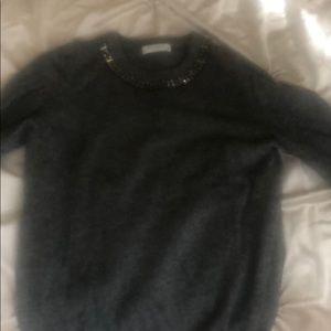Cashmere sweater with jeweled neckline